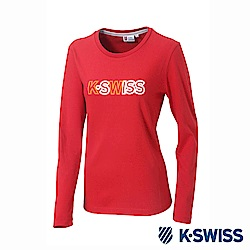 K-SWISS Long Sleeve T-Shirts印花長袖T恤-女-紅