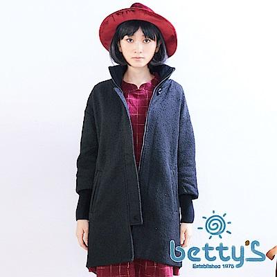 betty's貝蒂思 高領羅紋復古大鈕扣大衣(黑色)