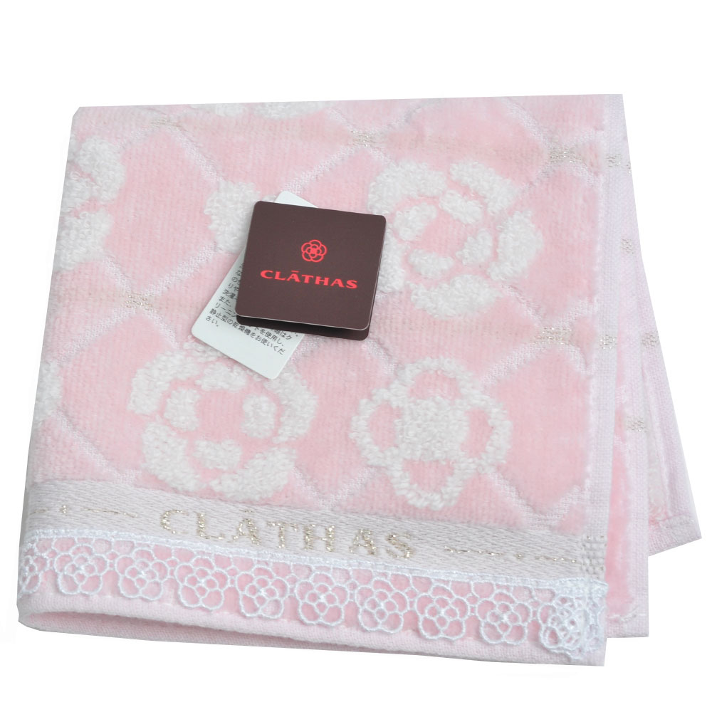 CLATHAS 經典山茶花圖騰LOGO花朵蕾絲小方巾(粉紅系)
