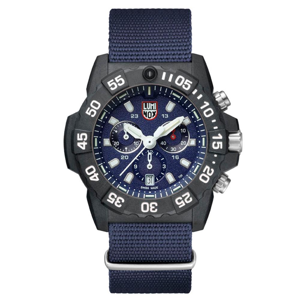 LUMINOX 雷明時 3580海豹三眼計時腕錶-海軍藍x白時標/45mm