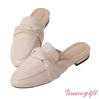Grace gift-扭結設計低跟穆勒鞋 米白