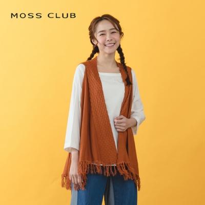 【MOSS CLUB】流蘇開襟罩衫-針織衫(二色)