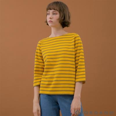 GIORDANO  女裝簡約厚磅七分袖T恤 - 85 一支黃/標誌灰