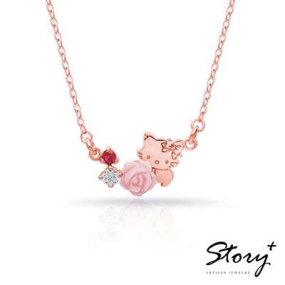 STORY故事銀飾-恰咪甜美系列-CharmmyKitty玫瑰純銀項鍊(玫瑰金)