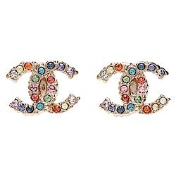 CHANEL 經典雙C LOGO彩色水鑽鑲飾造型穿式耳環(小-金)
