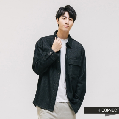 H:CONNECT 韓國品牌 男裝 - 仿舊刷色牛仔襯衫 - 藍