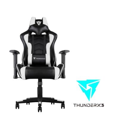 【ThunderX3】TGC22 競速超跑電競賽車椅(黑白色)