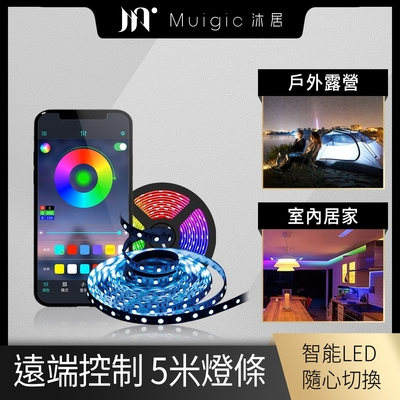 【Muigic沐居】RGB全彩可調防水LED智能燈條-5米