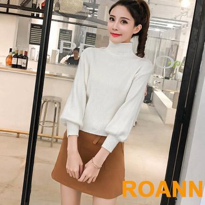 高領毛衣+高腰短裙兩件套 (共二色)-ROANN