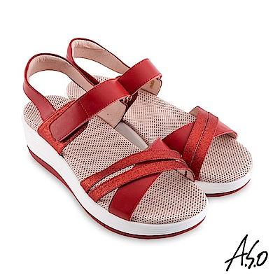 A.S.O機能休閒 輕穩健康金箔休閒涼鞋 桃粉紅