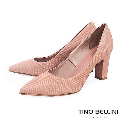 Tino Bellini 巴西進口幾何形象波浪線條尖楦跟鞋 _ 粉