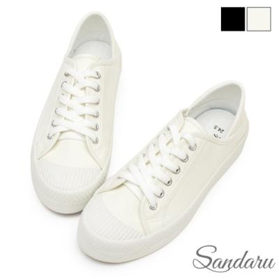 山打努SANDARU-帆布鞋 百搭綁帶可後踩餅乾鞋-白