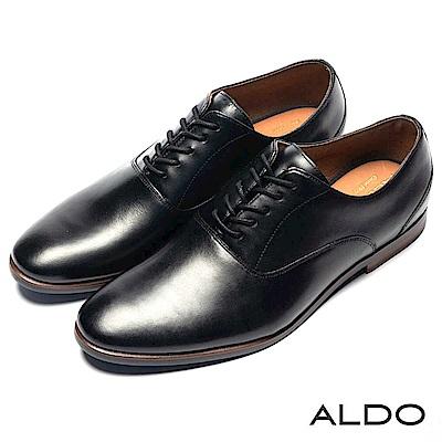 ALDO 原色真皮鞋面綁帶式復古木紋粗跟男皮鞋~尊爵黑色