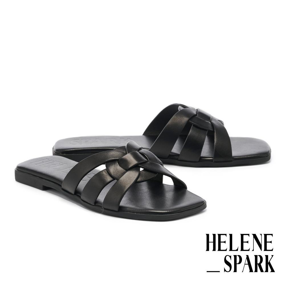 拖鞋 HELENE SPARK 簡約隨興多條帶牛皮方頭平底拖鞋-黑