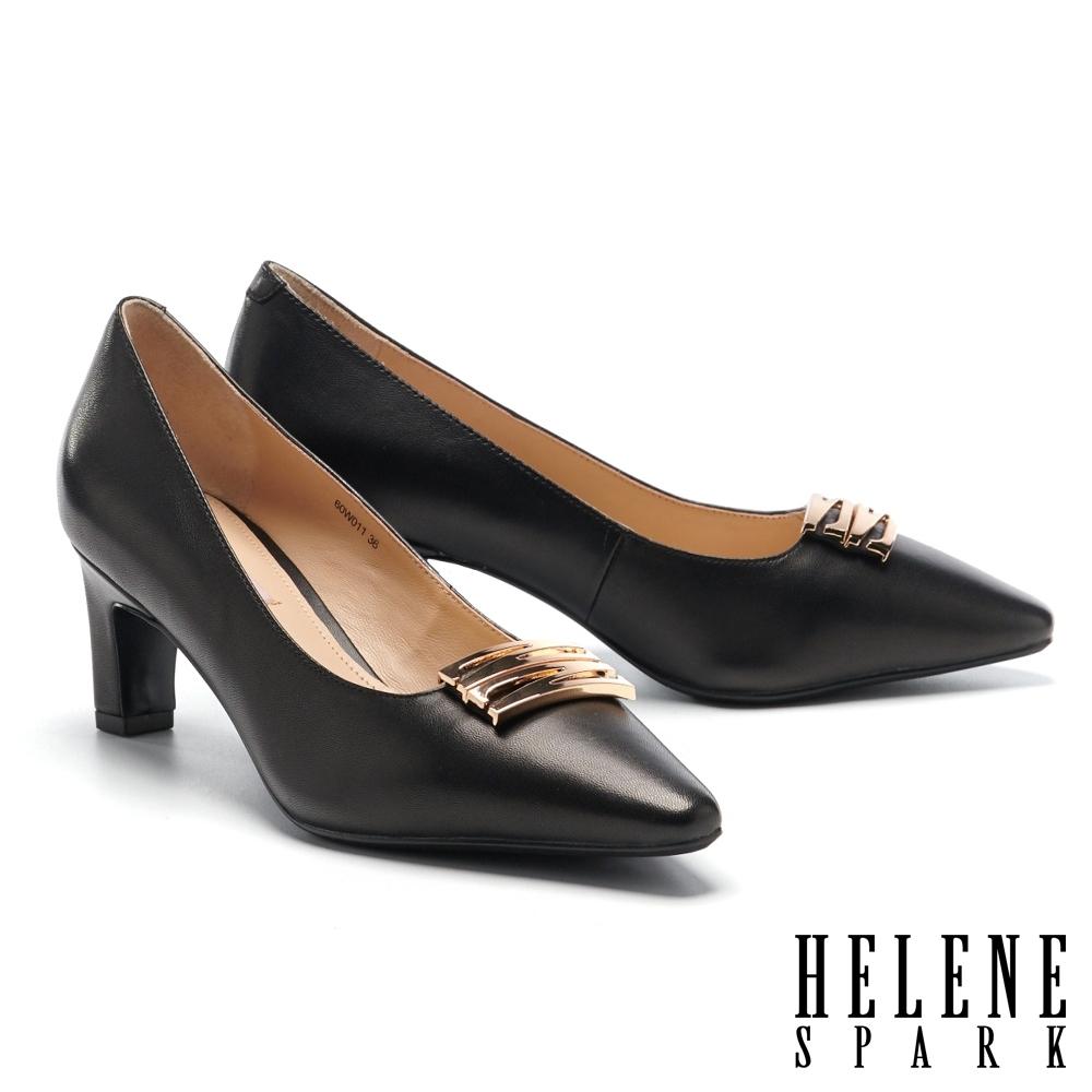 高跟鞋 HELENE SPARK 知性典雅雙 Z 字釦羊皮高跟鞋-黑