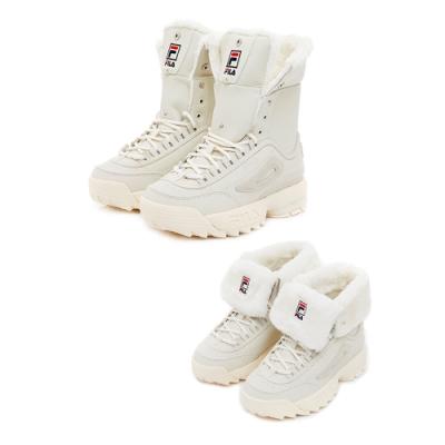 FILA 高筒絨毛靴-白 4-C622T-117