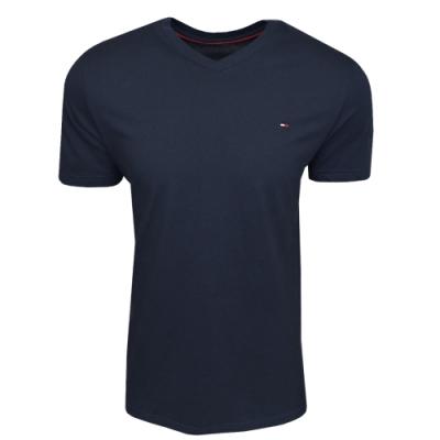 Tommy Hilfiger 經典棉質旗幟男版V領T恤 (深藍)