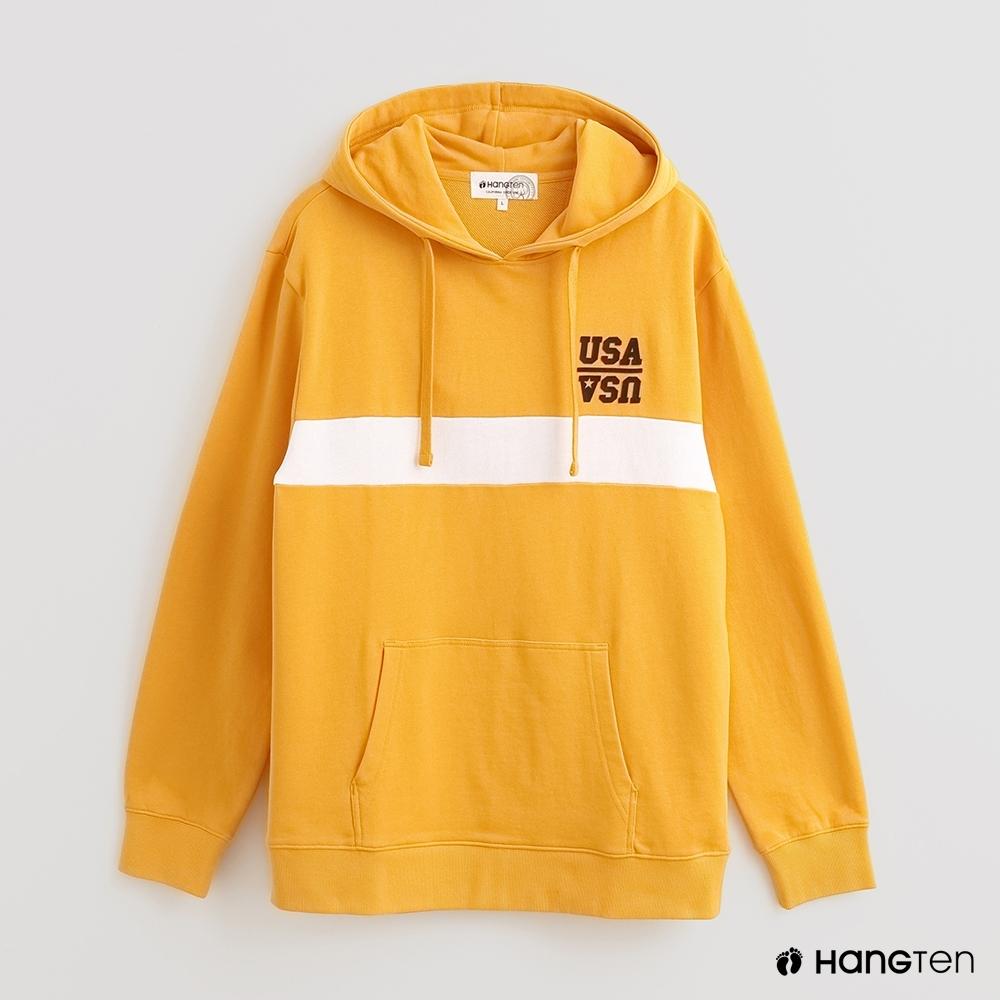 Hang Ten - 男裝 - 純色色塊拼接條紋長袖帽T - 黃