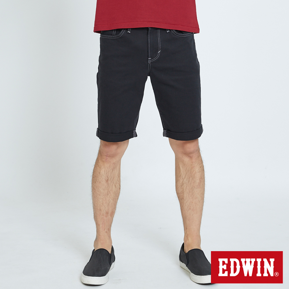 EDWIN 503休閒基本五袋短色褲-男-黑色