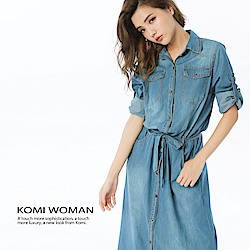 【KOMI】丹寧襯衫領雙口袋綁帶長洋裝