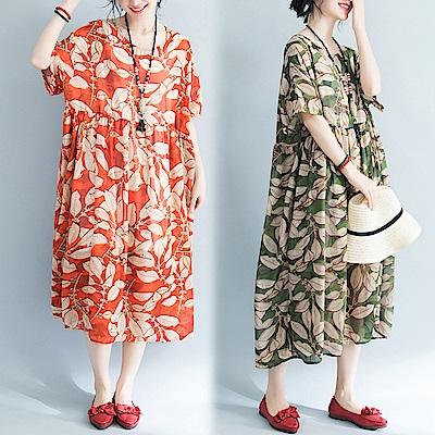 樹葉印花雪紡寬鬆短袖洋裝(共二色)-Keer