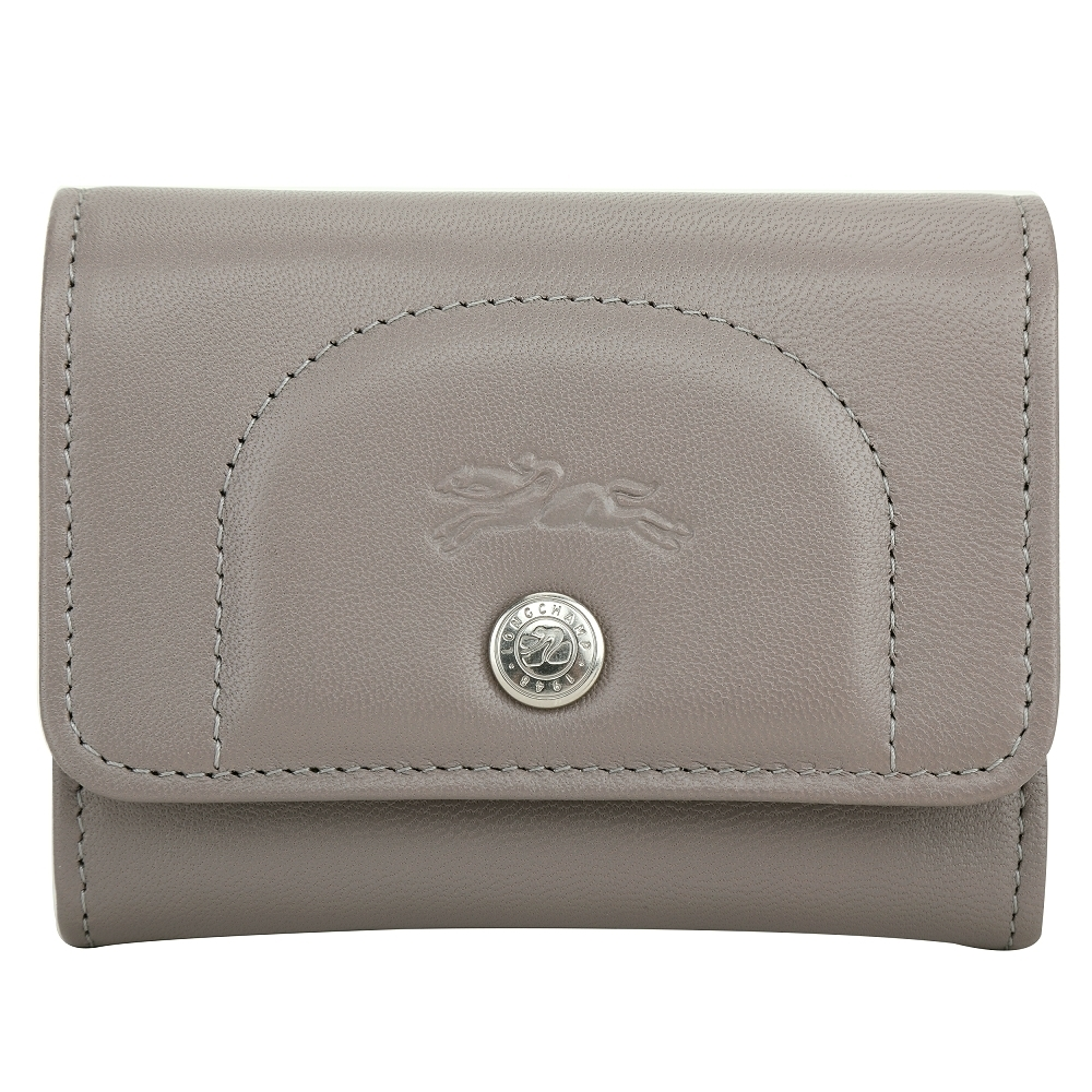 LONGCHAMP Le Pliage Cuir 羊皮釦式錢包 卡片夾(灰色)