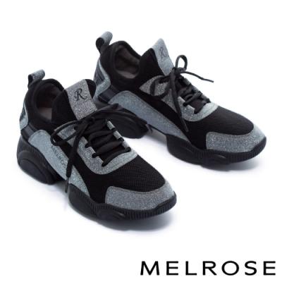 休閒鞋 MELROSE 率性時尚異材質拼接綁帶厚底休閒鞋-灰