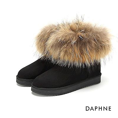 達芙妮DAPHNE 短靴-素色蓬鬆毛海靴筒長毛內裡短靴-黑