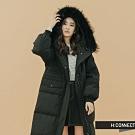 【周慶限量款】H:CONNECT 韓國品牌 女裝-簡約長版羽絨外套-黑