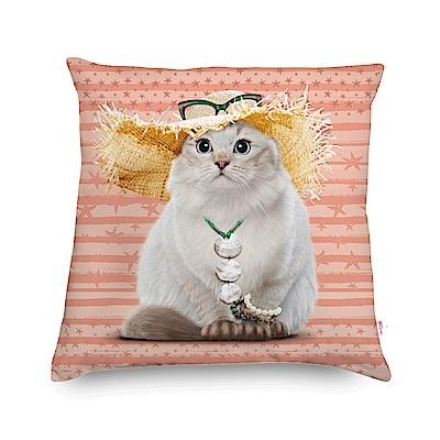 法國數位藝廊 貓貓抱枕/靠墊-渡假(粉橘)-含芯60x60