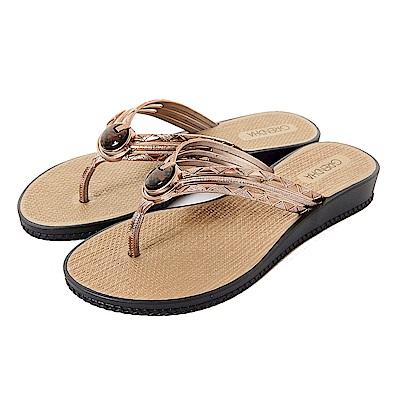 Grendha 瑪瑙石華麗人字帶夾腳鞋-黑色