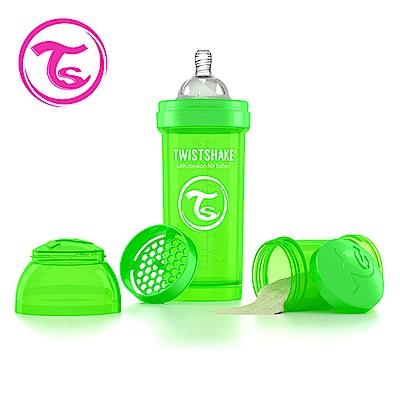 Twistshake 瑞典時尚 彩虹奶瓶/防脹氣奶瓶260ml/奶嘴口徑0.5mm-蘋果綠