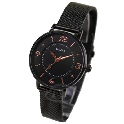 WY威亞 探索視界米蘭黑帶錶-黑盤金針