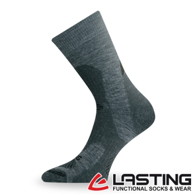 【LASTING捷克】女款美麗諾羊毛抗菌除臭吸濕排汗中筒健行襪/厚襪LT-TRP灰