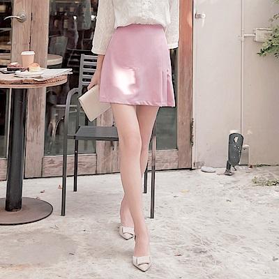 純色側邊百摺設計雪紡A字短裙-OB嚴選