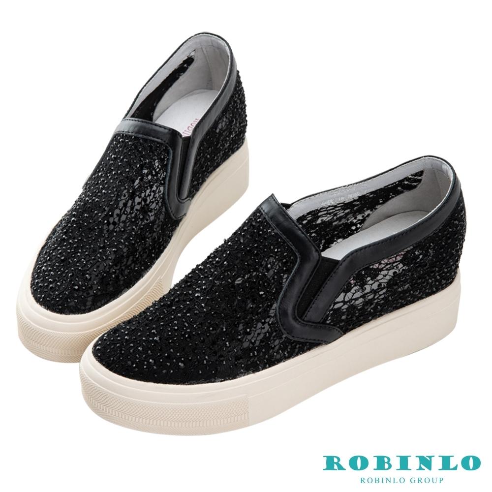 Robinlo 浪漫蕾絲鑲鑽微增高休閒鞋 黑色
