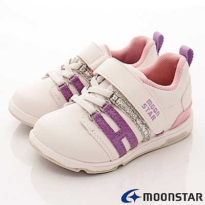 日本月星頂級童鞋 抗菌穩定運動款 TW1559紫銀粉(中小童段)