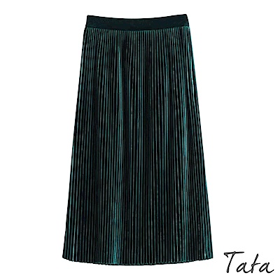 絨布百褶長裙 TATA