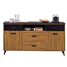 文創集 喬治時尚5.3尺黑岩石面餐櫃/收納櫃-160.2x41x84.8cm免組