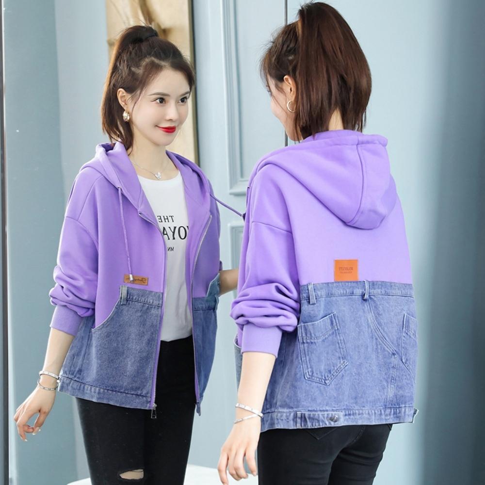 時尚撞色拼接連帽休閒牛仔外套S-XL(共二色)-WHATDAY (紫色)