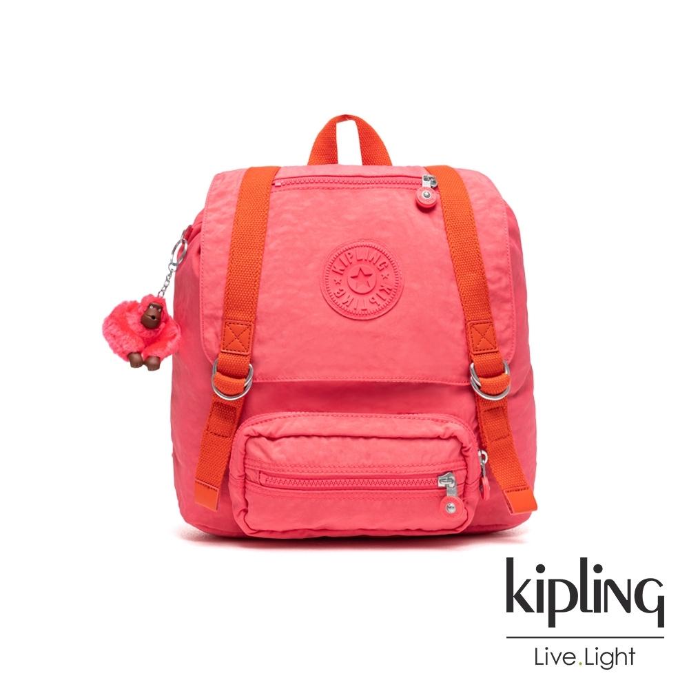Kipling 糖果色調莓果粉撞色雙扣翻蓋束口後背包-JOETSU S