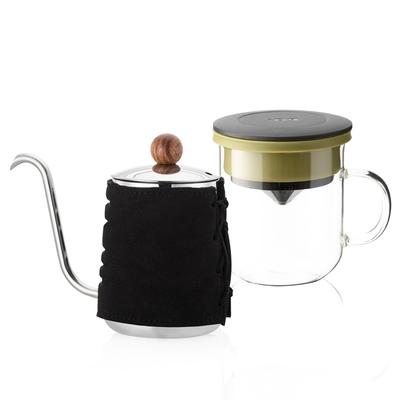 【PO:Selected】丹麥DIY手沖咖啡二件組 (手沖咖啡壺-黑/咖啡玻璃杯350ml-黑綠)