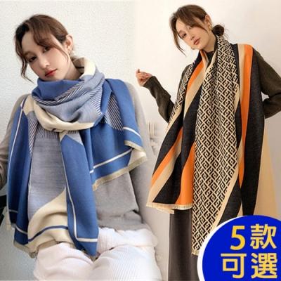 【韓國K.W.】(預購)獨家下殺-時尚素雅羊絨披肩圍巾組-共五款