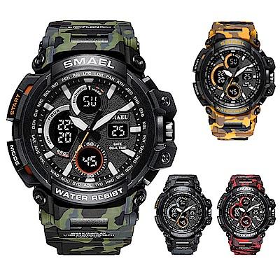 美國熊 日本機心迷彩風電子錶軍錶運動防水LED錶