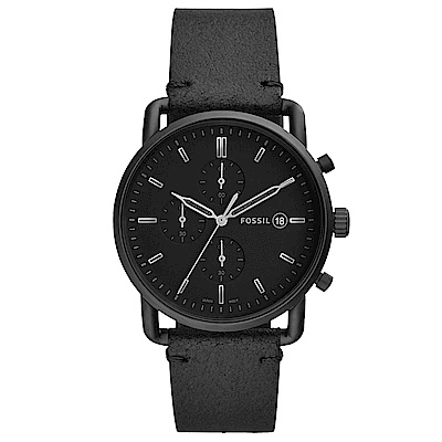 FOSSILCommuter質感三眼計時真皮手錶(FS5504)-黑/42mm