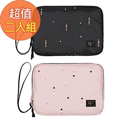 JIDA 時尚清新大容量可手挽證件護照收納包(2入)
