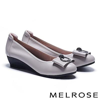 高跟鞋 MELROSE 氣質典雅鑽釦蝴蝶結全真皮楔型高跟鞋-米