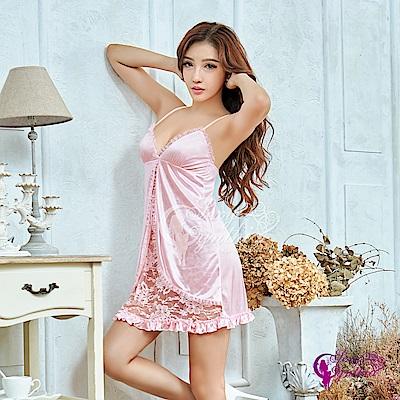 Sexy Cynthia性感睡衣 俏麗粉色蕾絲柔緞二件式性感睡衣-粉F