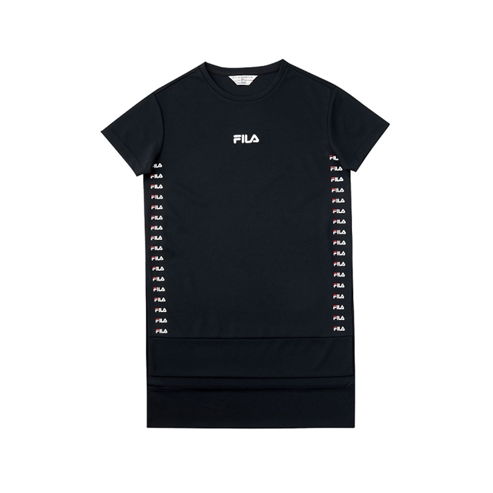 FILA 女吸濕排汗短袖圓領T恤-黑色 5TEV-1483-BK