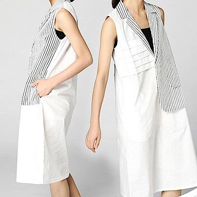 潮感拼接條紋領衫背心洋裝-(共二色)Andstyle